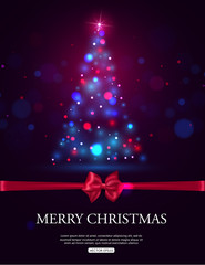 Merry Christmas 2015 celebration concept with xmas tree lights,