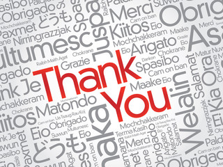 Red Thank You Word Cloud background in vector format
