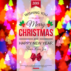Christmas shining typographical background with xmas tree lights