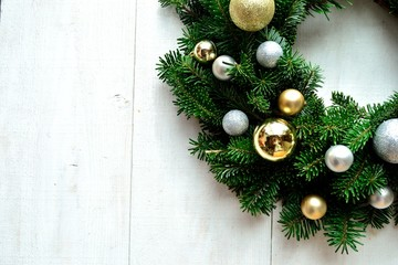 Gold and silver ornament balls Christmas wreath