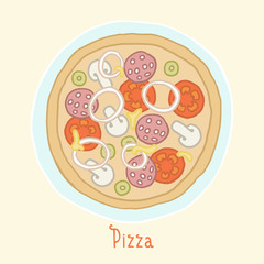 Regular pizza on a plate.