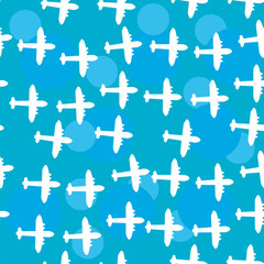 Seamless white pattern with silhouettes of the plane. Blue sky