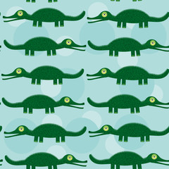 Funny green crocodile Seamless pattern with cute animal on a