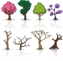 Cartoon trees, vector set