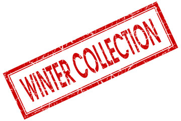 winter collection red square stamp isolated on white background