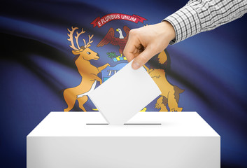 Ballot box with national flag on background - Michigan