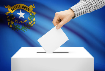 Ballot box with national flag on background - Nevada