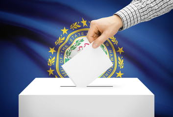 Ballot box with national flag on background - New Hampshire