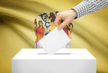 Ballot box with national flag on background - New Jersey