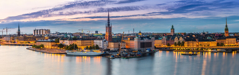 Foto auf AluDibond Stockholm Scenic summer night panorama of Stockholm, Sweden