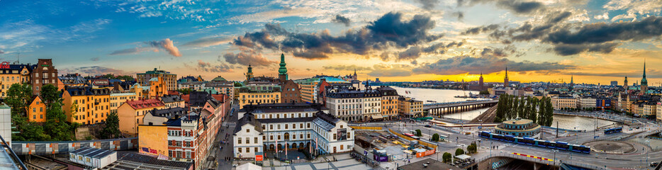 Aluminium Prints Stockholm Scenic summer night panorama of Stockholm, Sweden