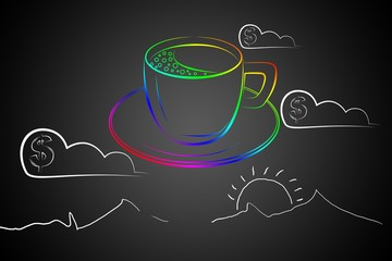 Coffee cup art illustration