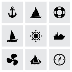 Vector ship and boat icon set