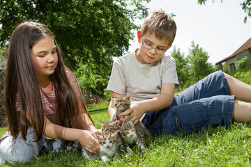 Happy children with a little cat