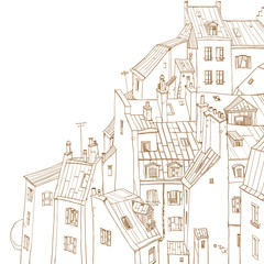 Roofs of Paris, view from above, outline drawing