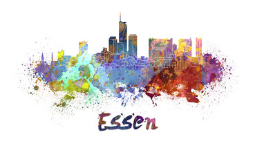 Fotomurales - Essen skyline in watercolor