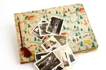 Fotoalbum Vintage um 1950 mit Bildern oben