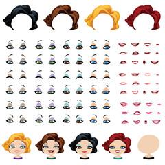 Fashion female avatars set of expressions
