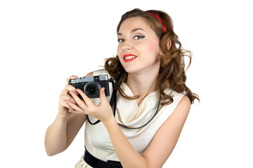 Portrait of the woman with retro camera