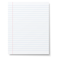 Notebook lined paper background isolated