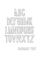 Letters of the alphabet written with a hand
