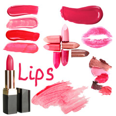 Collage of different lipsticks isolated on white