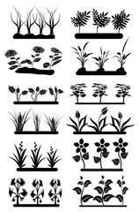 Flower field icons set