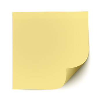 Yellow sticky note with deflected corner isolated