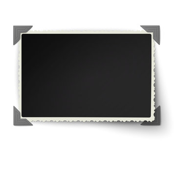 Retro not straight edges photo frame with not fixed corner