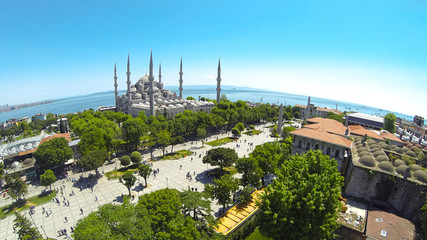 Panoramic view of Sultanahmet Cami and Square from above