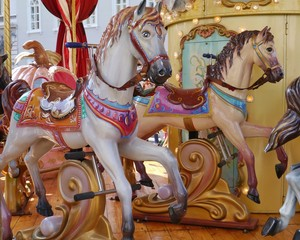 A horse at a merry-go-round in Trieste in Italy