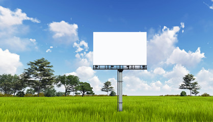 Blank big billboard over tree landscape background, put your text here