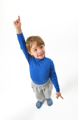 boy pointing upwards
