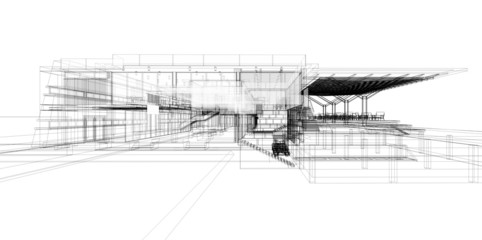 Abstract wireframe of building, 3D render