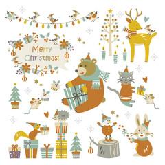 Happy christmas animals