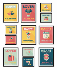 Valentine's Day poster flat banner design flat background set,