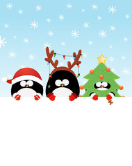 Christmas Penguins With Blank Paper