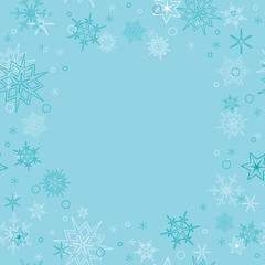 vector background - light blue christmas card with snowflakes