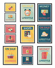 shopping poster banner flat design background set, eps10