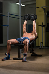Fit Athlete Doing Exercise For Chest