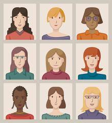 Nine portraits of young women, flat design