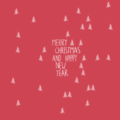 Merry Christmas Greeting Card Hand Drawn Simple
