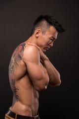 Korean model with tattoo