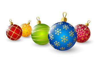 Xmas color balls on white background