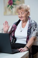Elderly woman talking online