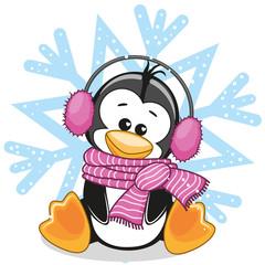Penguin in a fur headphones