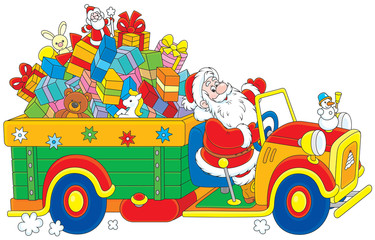 Santa Claus carrying Christmas gifts on his truck