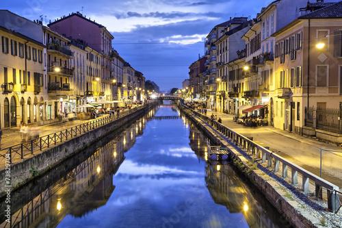 Fototapete Naviglio Grande canal in the evening, Milan