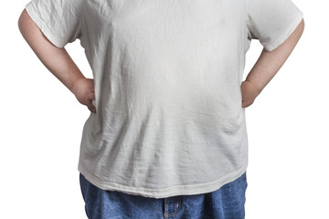 overweight Man in blue jeans and white shirt