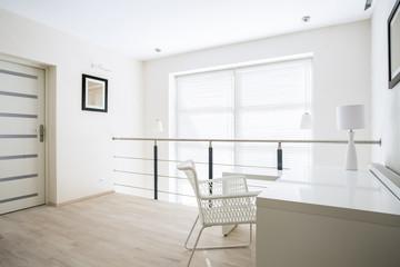 Home office on mezzanine floor